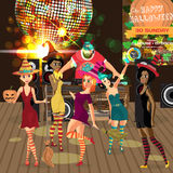 Vector Halloween party invitation disco style. Club, dj with sound system, crowd women in dress of witches. Vector template party poster invitations or flyers Stock Image