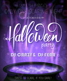 Vector halloween party invitation poster with hand lettering label - halloween - with boiling witch cauldron on Royalty Free Stock Image