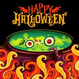 Vector Halloween party invitation poster, witch cauldron Royalty Free Stock Photo