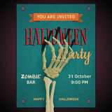 Vector Halloween party poster with dead man's zombie arm on inv. Itation to party royalty free illustration