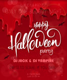 Vector halloween party poster with hand lettering greetings label - happy halloween - on red bloody drips for you event.  Stock Images