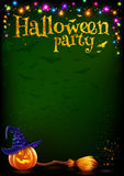 Vector Halloween party poster template with cartoon style pumpkin and witch broom, colorful lamps garland on dark. Vector Halloween party poster template with Stock Photography