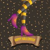 Vector halloween party poster with witch legs Royalty Free Stock Photos