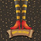 Vector halloween party poster with witch legs. And vintage ribbon with text happy halloween on brown background . girls legs with stripped stockings and shoes Royalty Free Stock Photo
