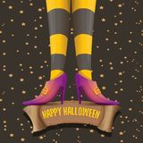 Vector halloween party poster with witch legs Stock Images
