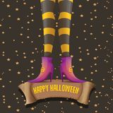 Vector halloween party poster with witch legs Stock Photo