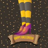 Vector halloween party poster with witch legs Royalty Free Stock Photo