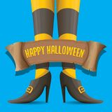 Vector halloween party poster with witch legs. And vintage ribbon with text happy halloween isolated on blue background . girls legs with stripped stockings and Royalty Free Stock Images