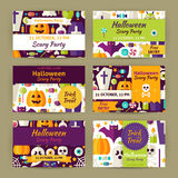 Vector Halloween Party Template Invitation Modern Flat Set Stock Photos