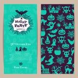 Vector halloween party thin invitation card template Royalty Free Stock Photos