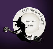 Vector of Halloween party. Witch on white plate Stock Photos
