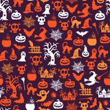 Vector halloween pattern background with witches, pumpkins, ghosts, spiders silhouettes. Halloween silhouette pumpkin spider and ghost illustration Royalty Free Stock Image