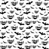 Vector halloween pattern of black spiders and bats Royalty Free Stock Image