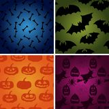 Vector Halloween pattern set. bone, pumpkin, witch, bats icons Stock Photo