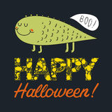 Vector halloween postcard with a cute green monster Royalty Free Stock Photo