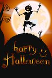 Halloween poster with skeleton vector illustration