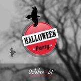Vector Halloween poster. EPS,JPG. Vector Halloween poster. Black ravens silhouettes on a tree background. Black and white poster for Halloween Party. Red circle Stock Image