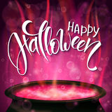 Vector halloween poster with hand lettering greetings label - happy halloween - with boiling witch cauldron Stock Photography