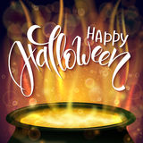 Vector halloween poster with hand lettering greetings label - happy halloween - with boiling witch cauldron Stock Images