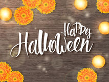 Vector halloween poster with hand lettering greetings label - happy halloween - on desk with gerbera flower and candle Stock Photo