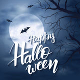 Vector halloween poster with hand lettering greetings label - happy halloween - on night sky with full moon and clouds Royalty Free Stock Image