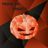 Vector halloween poster with scary pumpkin head in Royalty Free Stock Photography