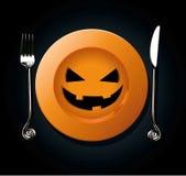 Vector of Halloween pumkin plate Royalty Free Stock Image
