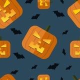 Vector halloween pumpkin background. Vector halloween pumpkin seamless pattern with bat. Eps10 Stock Images