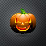 Vector Halloween pumpkin with candle inside. Happy face Halloween pumpkin isolated on transparent background. Royalty Free Stock Image