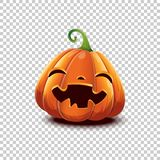 Vector Halloween pumpkin in cartoon style. Smiling happy face Halloween pumpkin isolated on transparent background. Jack stock image