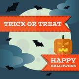 Vector halloween pumpkin front moon background. Eps10 Stock Image