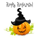 Vector halloween pumpkin with hat Royalty Free Stock Photo