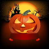Vector halloween pumpkin with ribbon Royalty Free Stock Photography