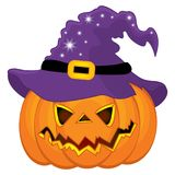 Vector Halloween Pumpkin in Witch Hat Stock Images