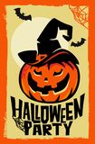 Vector halloween pumpkin with witch hat. Party poster Royalty Free Stock Photos
