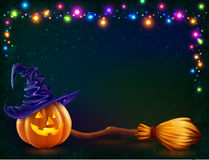 Vector Halloween pumpkin and witchs broom on dark background with lamps garland. Vector Halloween pumpkin and witchs broom on dark background with colorful lamps Royalty Free Stock Images