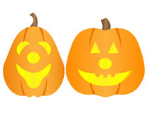 Vector Halloween pumpkins. Happy and bright Halloween pumpkins isolated on white Royalty Free Stock Photography