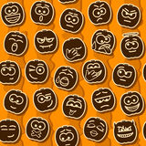 Vector Halloween Pumpkins Smileys Pattern Stock Photography