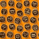 Vector Halloween Pumpkins Smileys Pattern. Vector Halloween Pumpkins Smileys Seamless Pattern Stock Photography