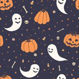 Vector Halloween repeat pattern with pumpkins, ghosts with scary faces, bones, skulls and candy corn in sketch Stock Photos