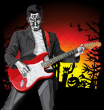 Vector Halloween scary man with the guitar Stock Image