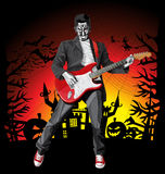 Vector Halloween scary man with the guitar Royalty Free Stock Image