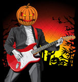 Vector Halloween scary man with the guitar Stock Images