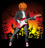 Vector Halloween scary man with the guitar Royalty Free Stock Photo