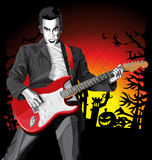 Vector Halloween scary man with the guitar Royalty Free Stock Images