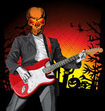 Vector Halloween scary man with the guitar Stock Photography
