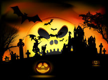 Vector Halloween scene stock illustration