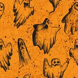 Vector Halloween seamless. Halloween seamless - black ghosts on a orange background Royalty Free Stock Photography