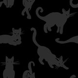 Vector Halloween seamless. Vector seamless pattern with cats isolated on black background Royalty Free Stock Image
