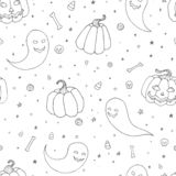 Vector Halloween seamless pattern with pumpkins, ghosts with scary faces, bones, skulls and candy corn outline in sketch style. Ha Royalty Free Stock Images